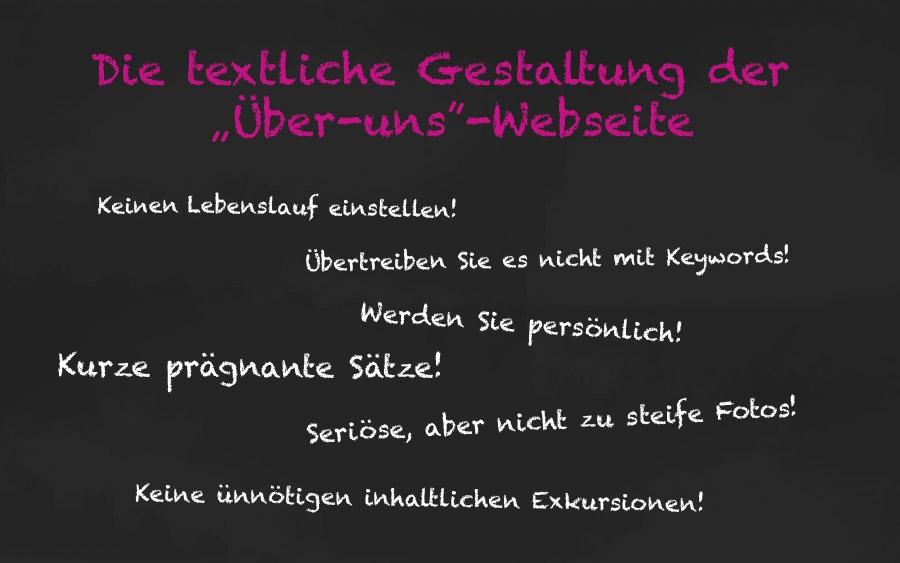 """Die textliche Gestaltung der """"Über uns""""-Webseite"""